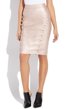 FAUX LEATHER SKIRT WITH LACING