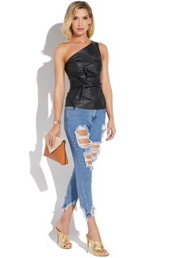 FAUX LEATHER ONE SHOULDER TANK