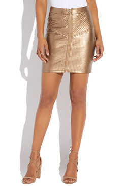 QUILTED STRETCH FAUX LEATHER SKIRT