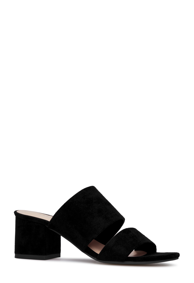 Shoedazzle Sandals-Dressy - Single Sole Sonya Block Heel Slide Womens Black Size Wide Width Easy-to-wear slip on strappy slide sandal with low block heel.
