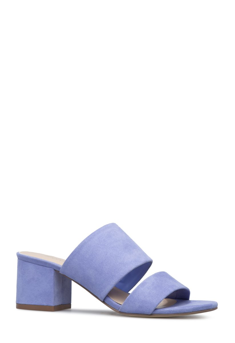 Shoedazzle Sandals-Dressy - Single Sole Sonya Block Heel Slide Womens Blue Size 8 Easy-to-wear slip on strappy slide sandal with low block heel.