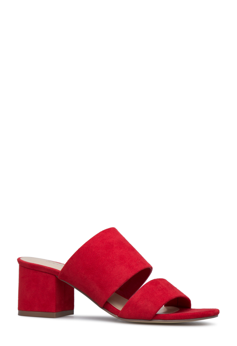 Shoedazzle Sandals-Dressy - Single Sole Sonya Block Heel Slide Womens Red Size Wide Width Easy-to-wear slip on strappy slide sandal with low block heel.