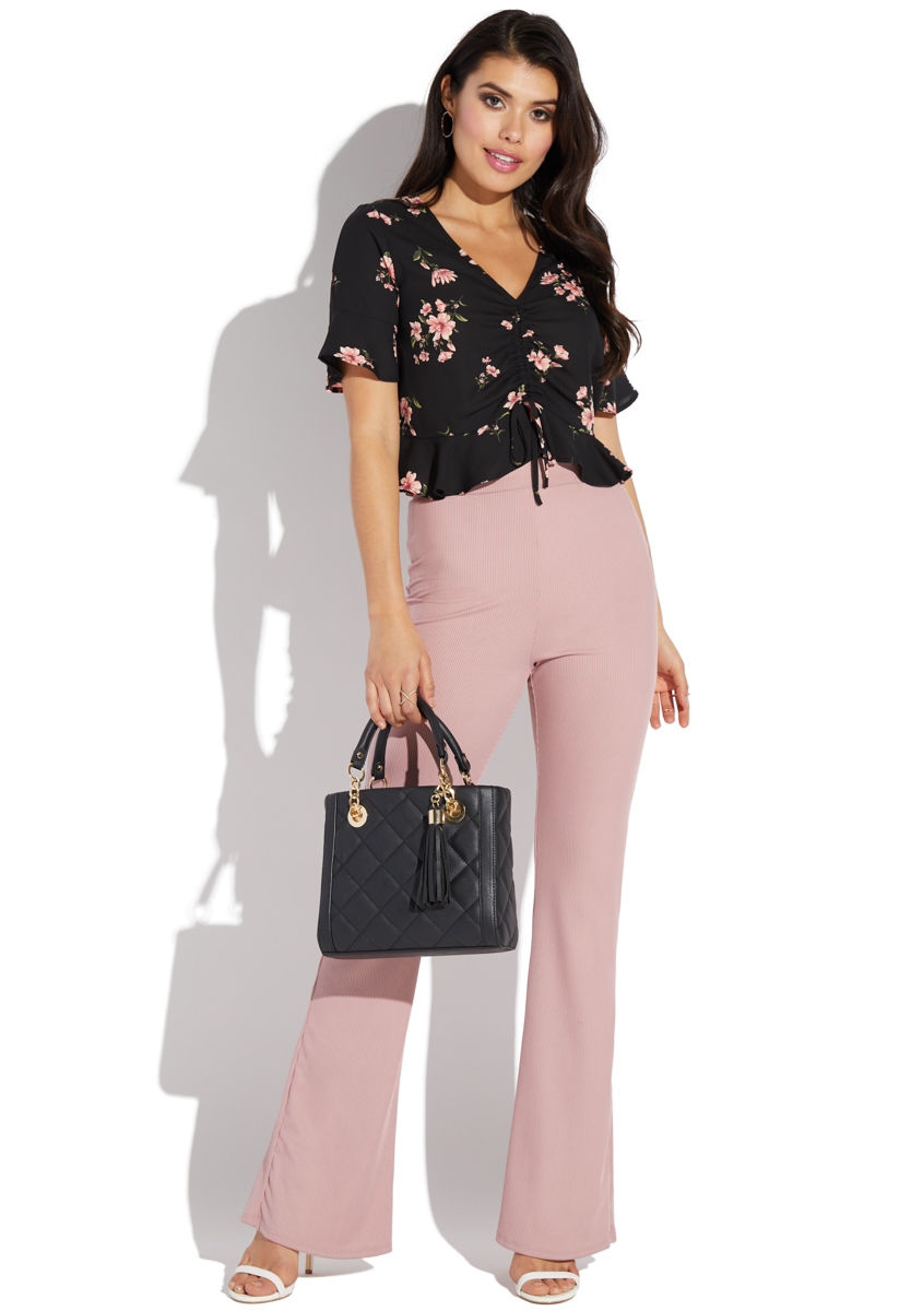 b6df85be05f RUCHED SHORT SLEEVE FLORAL TOP - ShoeDazzle