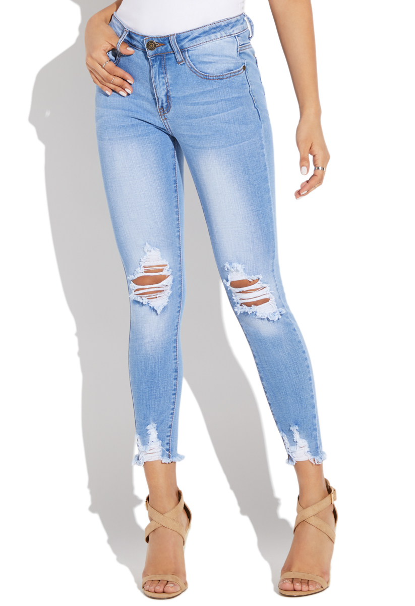 61a087bc4c FADED RIPPED SKINNY JEANS
