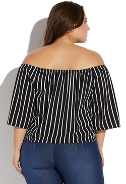 PLUS SIZE STRIPED OFF SHOULDER BLOUSE
