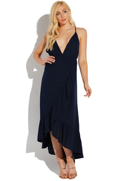 LOW CUT WRAP FRONT MAXI