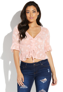 SHEER CINCHED FRONT BLOUSE