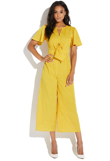 bf67deb102f KNOT FRONT SHORT SLEEVE JUMPSUIT - ShoeDazzle