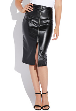 FAUX LEATHER ZIP MIDI SKIRT