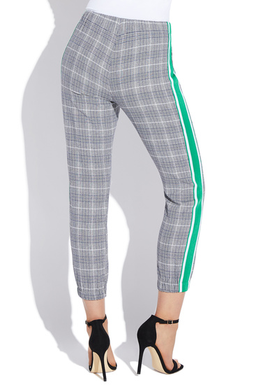 PLAID PANTS WITH SIDE STRIPE
