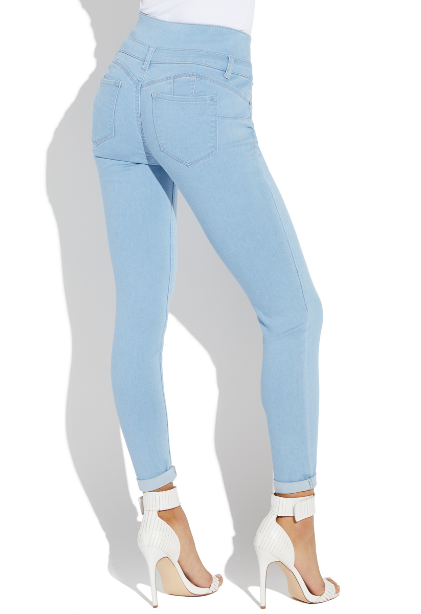a2954121a4a HIGH WAISTED BOOTIE PUSH UP CROP SKINNY JEANS - ShoeDazzle