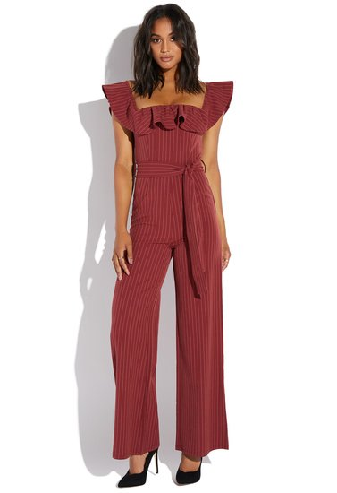 53084925623 STRIPED RUFFLE JUMPSUIT - ShoeDazzle