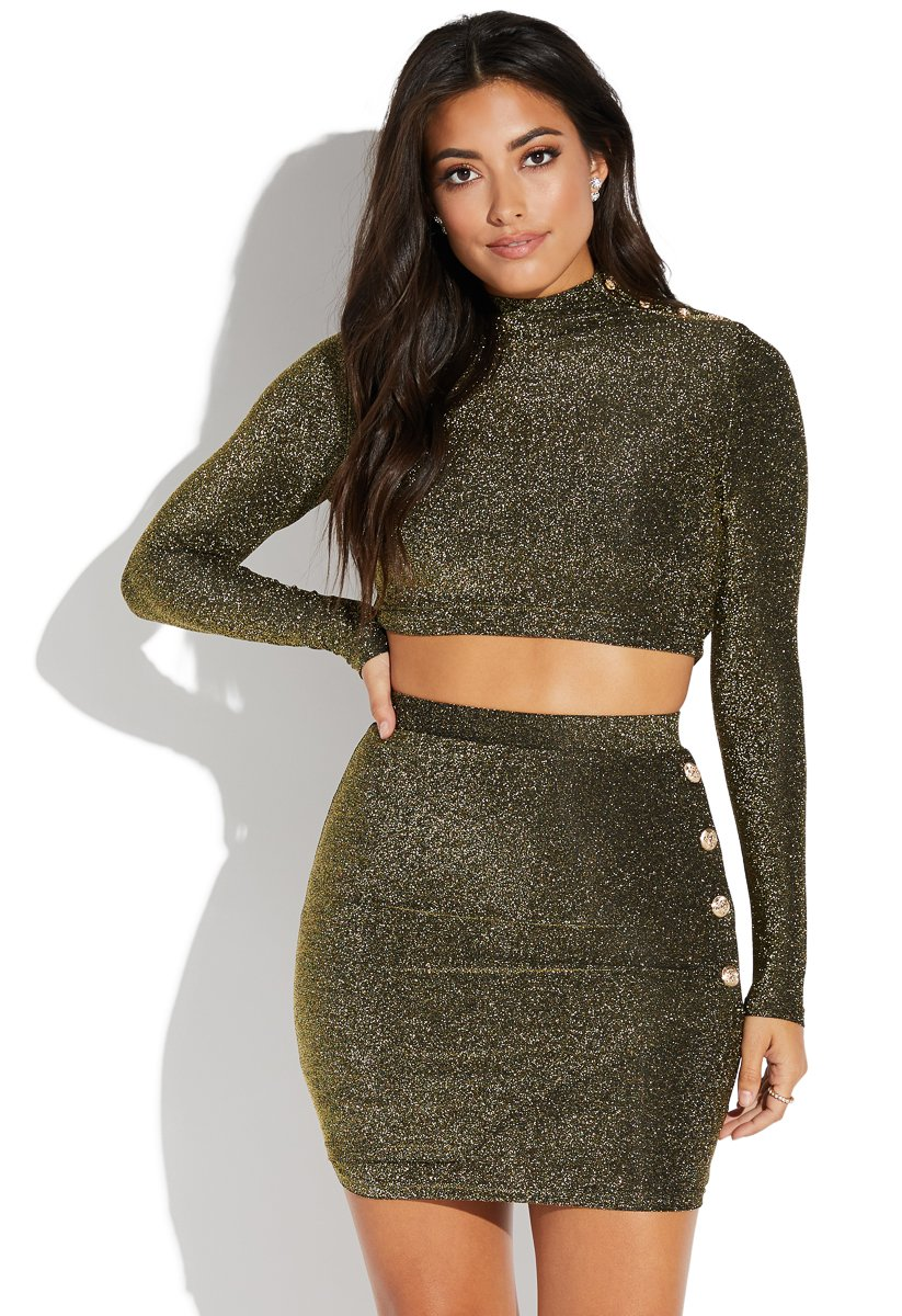 SPARKLY CROP TOP AND SKIRT SET - ShoeDazzle