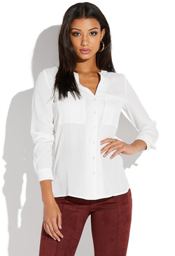 LONG SLEEVE POCKET FRONT BLOUSE
