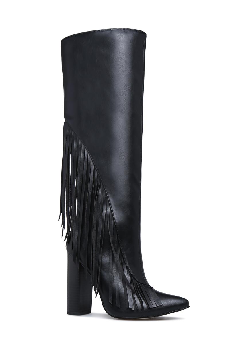 Holly Fringe Heeled Boot Shoedazzle