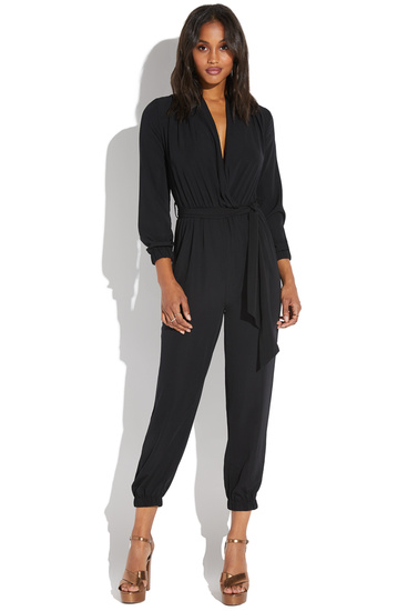 2d5336269d82 LONG SLEEVE WRAP FRONT JUMPSUIT - ShoeDazzle