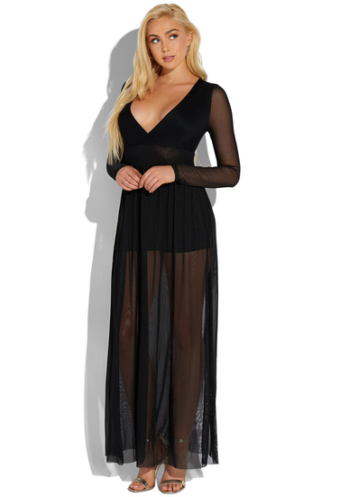 1bec5d38dbb75 MESH LONG SLEEVE MAXI DRESS - ShoeDazzle