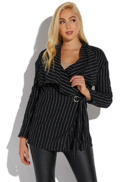 STRIPED DRAPE FRONT JACKET