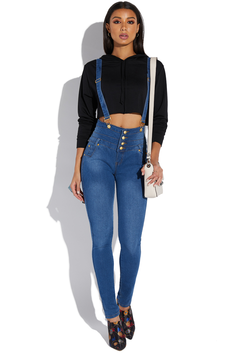 2019 year look- Waisted High skinny jeans with suspenders pictures