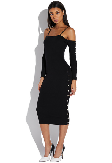 Off Shoulder Snap Up Midi Sweater Dress Shoedazzle