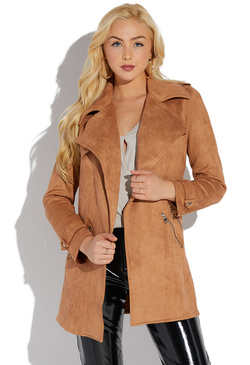 FAUX SUEDE OVERSIZED JACKET