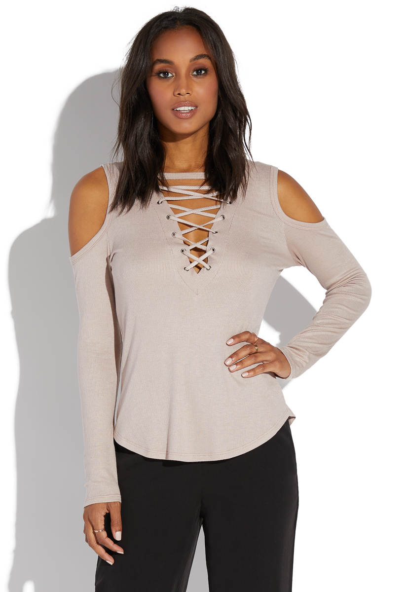8fdcdff2ad997 COLD SHOULDER LACE UP TOP - ShoeDazzle