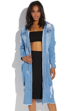LONG LINED DISTRESSED JACKET