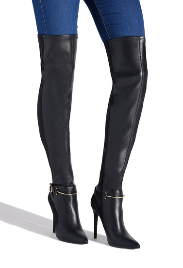 52ddd072814 Material  Faux-Leather Knit  Calf Circumference  Reg  16.5