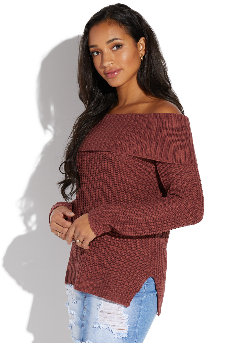 71d9825a119ed2 OFF SHOULDER FOLD OVER SWEATER - ShoeDazzle