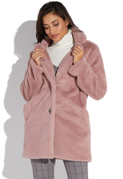 ecb31c67fd7 COLLARED FAUX FUR COAT ...