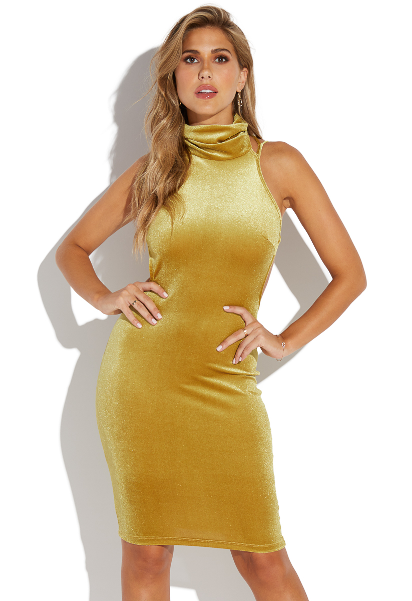 790a4587fdb2 MOCK NECK VELVET MIDI DRESS - ShoeDazzle
