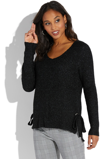 Side Tie V Neck Sweater Shoedazzle