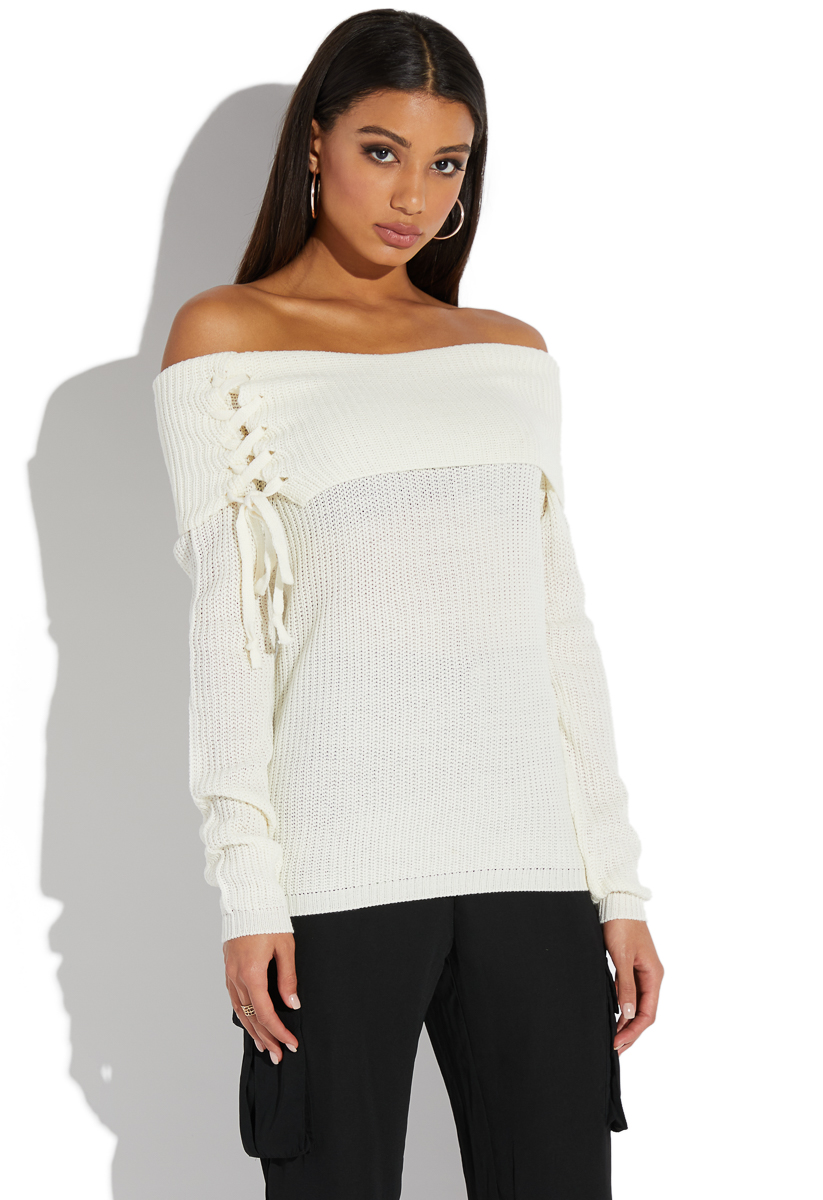 21c8412ee7bdb OFF SHOULDER LACE UP SWEATER - ShoeDazzle