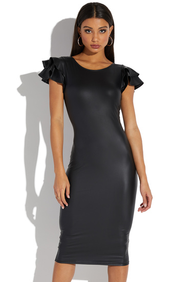 be69d10fba28 STRETCH FAUX LEATHER RUFFLE SLEEVE MIDI - ShoeDazzle
