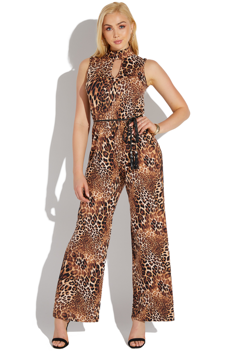 special for shoe exquisite design selected material LEOPARD PRINT RELAXED JUMPSUIT