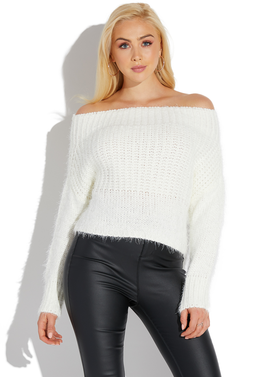 fce67b60df1a8 OFF SHOULDER FUZZY SWEATER - ShoeDazzle