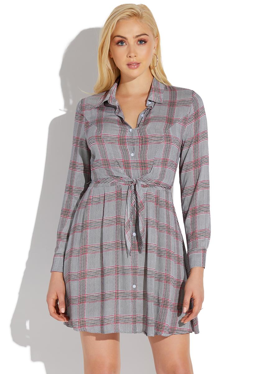 Good Prices latest sale 100% quality quarantee TIE FRONT PLAID SHIRT DRESS