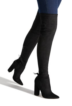 CRISTAL THIGH HIGH STRETCH HEELED BOOT