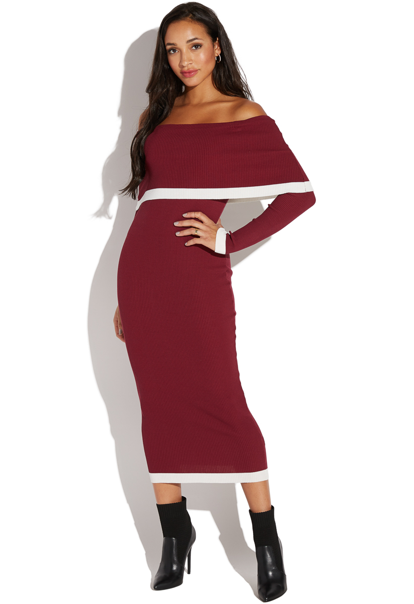 Off Shoulder Contrast Trim Midi Sweater Dress Shoedazzle