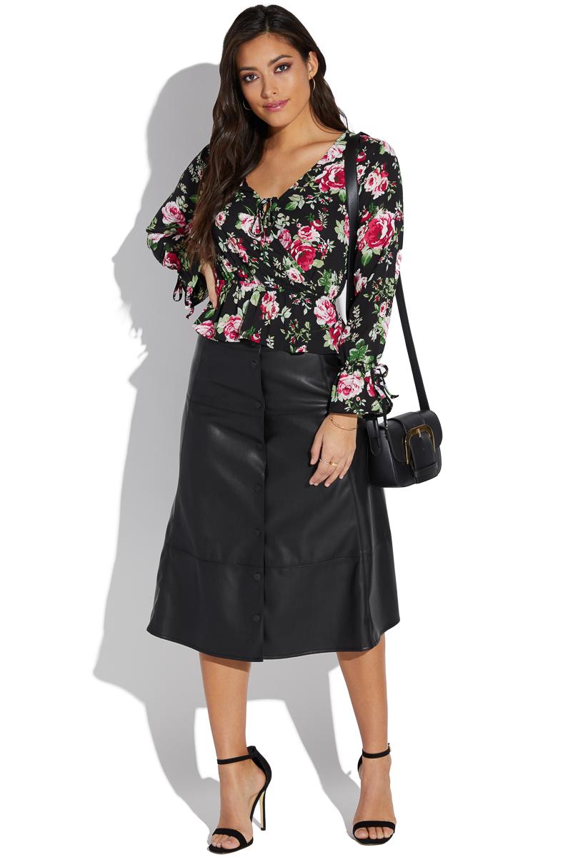decd4651c2 Plus Size Faux Leather Midi Skirt