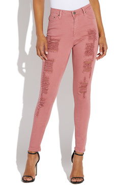 soft and light top-rated cheap variety design HIGH RISE DESTROYED SKINNY DENIM