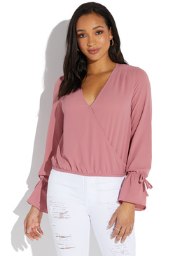 50eef4b60520f WRAP FRONT BLOUSE ...