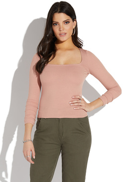 4fc5b1971f SQUARE NECK LONG SLEEVE TOP ...