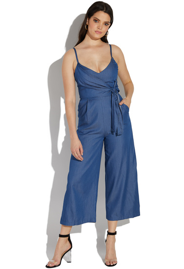 72a694bf455e CHAMBRAY WRAP TIE JUMPSUIT - ShoeDazzle