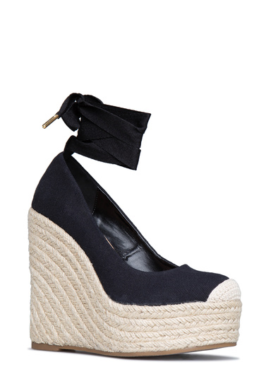 Material Canvas Fit True To Size Platform Height 1 5 Outside Wedge Color Black Closure Adjule Ties Imported