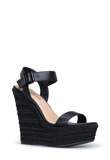 Material Faux Leather Fit True To Size Platform Height 1 5 Outside Wedge Color Black Onyx Closure Adjule Buckle Imported