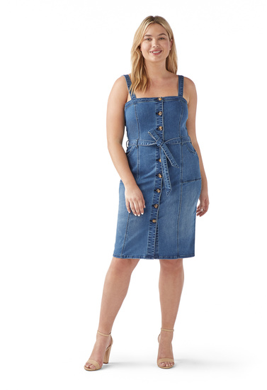 PLUS SIZE PINAFORE DENIM DRESS - ShoeDazzle