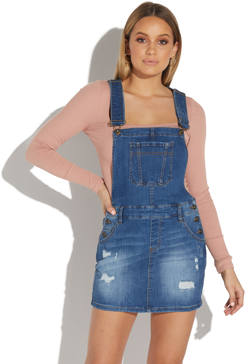 attractive style 100% original recognized brands DISTRESSED DENIM OVERALL DRESS