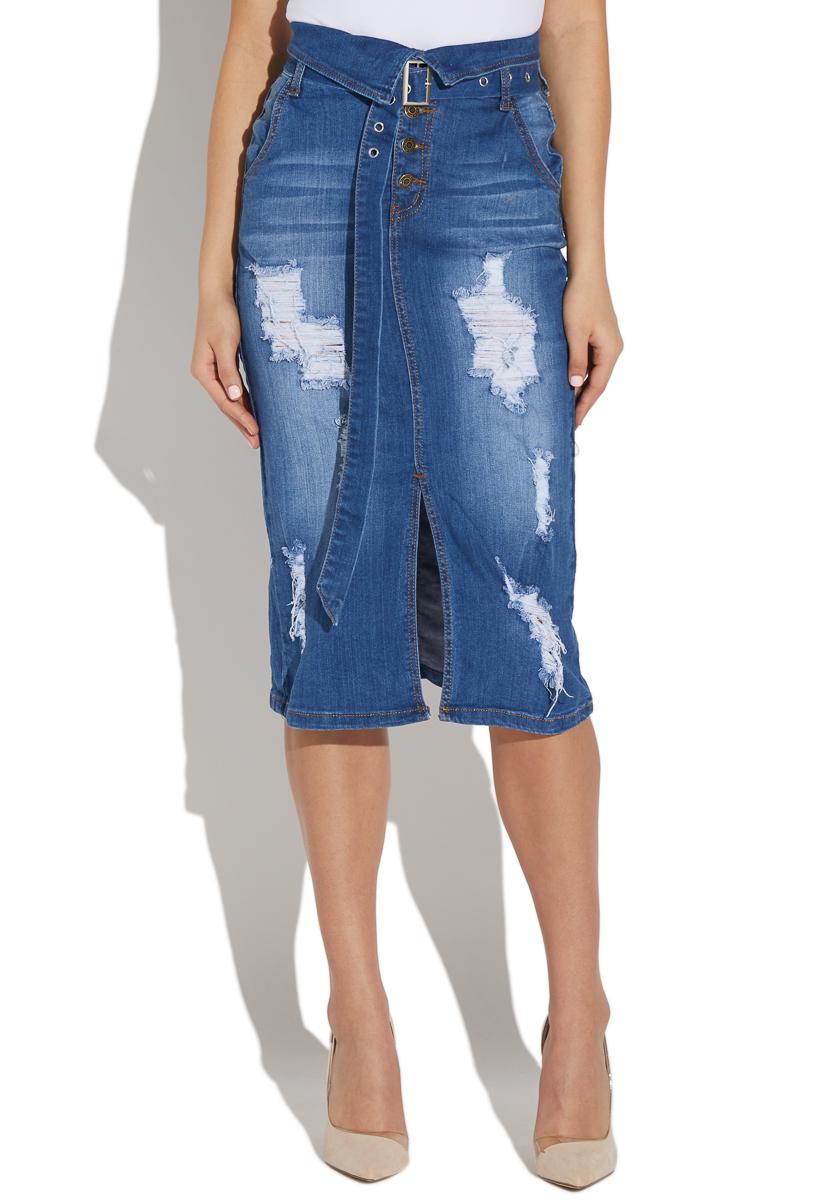 c421930a1617 High Waisted Distressed Denim Skirt