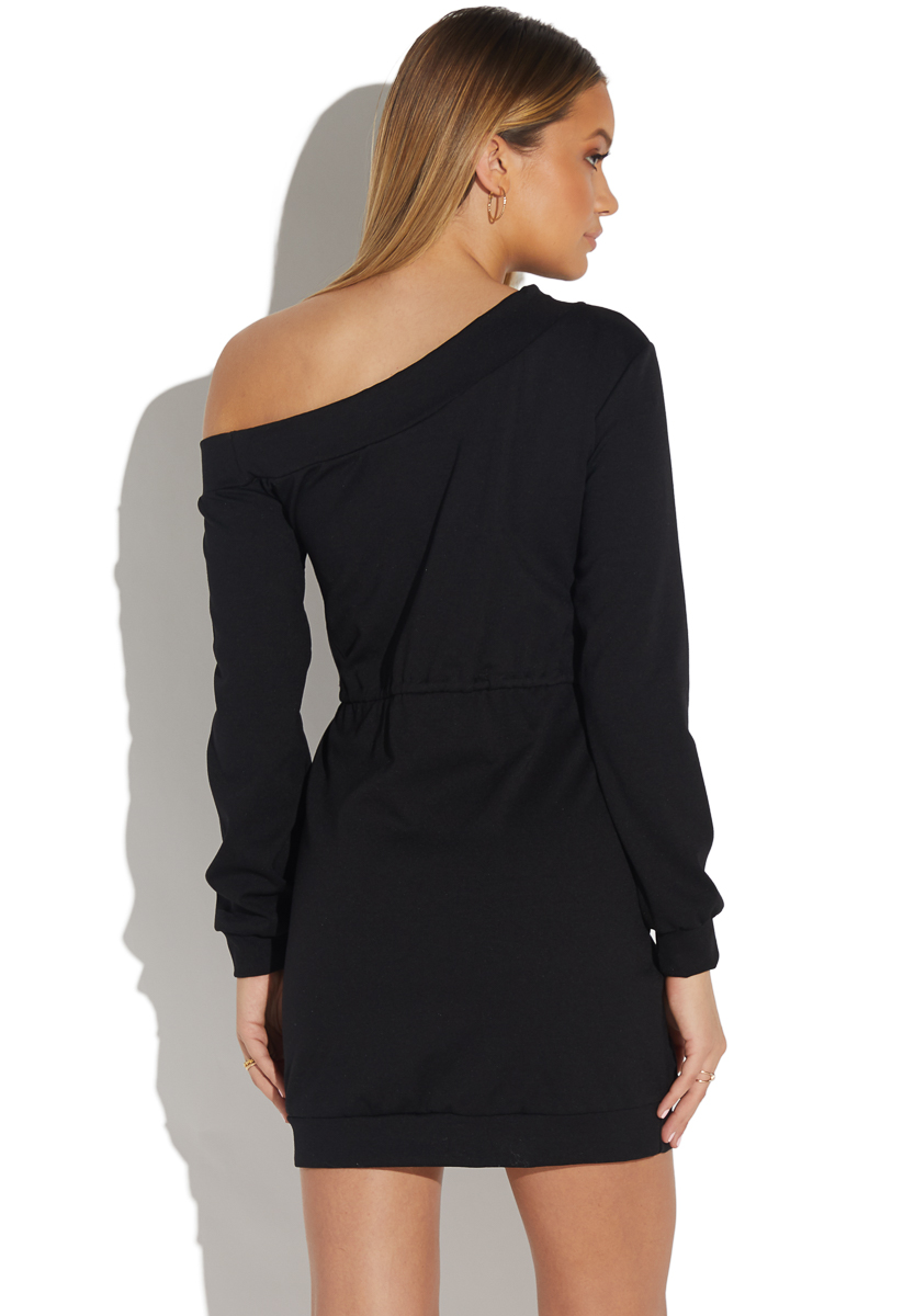 2f39fe3b3d5 OFF SHOULDER SWEATSHIRT DRESS - ShoeDazzle